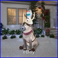 Outdoor Inflatable Olaf Sitting on Sven The Reindeer Christmas Frozen Yard Decor