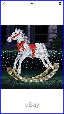 Outdoor Lighted 4' Christmas Rocking Horse Pre Lit Twinking Lawn Yard Decor SALE