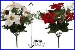 POINSETTIA White Red Cones Ferns Berry Flower Bouquet Christmas Ivy Fern Festive