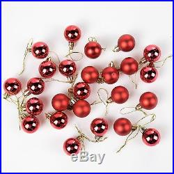 Pack of 24 Mini Miniature Small Shiny & Matte Christmas Tree Baubles Red