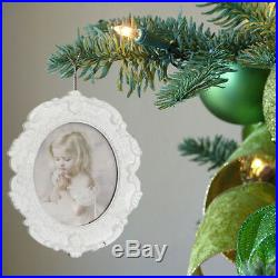 Pack of 3 White Photo Picture Frame Christmas Tree Pendants Decorations