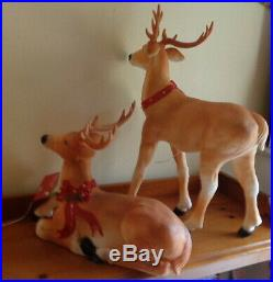Pair Blow Mold Reindeer Deer Standing Laying LED Christmas 27 Small Light Up