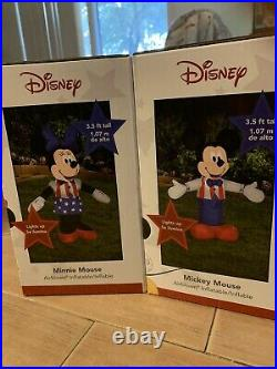 Patriotic Mickey & Minnie Mouse Airblown Inflatable Lighted Yard Decor Set Of 2