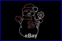Peppermint Snowman LED light wire frame metal outdoor decoration display