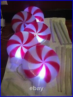Peppermint Swirl Lollipop Plastic Blow Mold Christmas Stake Path Flashing Light