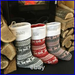 Personalised Luxury Embroidered Nordic Xmas Stocking Christmas Sack Reindeer