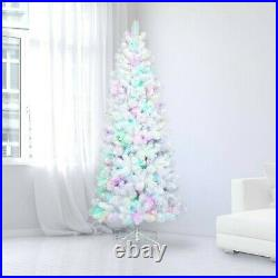 Philips 7ft Pre-lit Slim Christmas Tree White Tinsel Douglas Fir Rainbow New