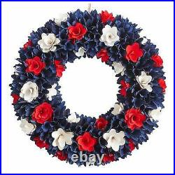 Pier1 21 Patriotic Americana Red, White And Blue Wood Curl Flowers Wreath Bnwt