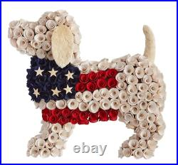 Pier1 Patriotic Red White And Blue Dog Wood Curl Wreath Bnwt