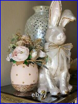 Pier 1 GLAM EASTER Ivory Capiz Bunny & Faux Floral Arrangement NWT HTF SOLD OUT