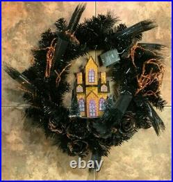 Pier 1 Imports LED Pre-Lit 20 Halloween Haunted Mansion House Wreath Black NWT