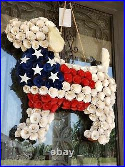 Pier 1 Patriotic American Flag Red, White & Blue Dog Wood Curl Wreath SOLD OUT