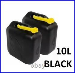Plastic 2 X10 Ltr Car Fuel Petrol Diesel Water Jerry Can Container With Spout Uk