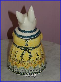 Polish Pottery Bunny Cookie Jar! UNIKAT Signature Exclusive Miss Daisy