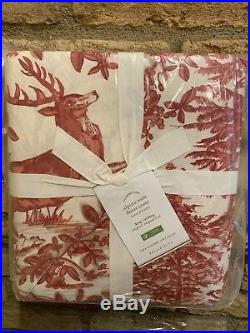 Pottery Barn ALPINE TOILE King Duvet RED Christmas Deer Stag New Woodland Cabin