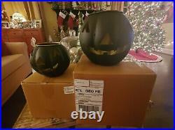 Pottery Barn Black Mini & Small Pumpkin Candle Holder HALLOWEEN New in Box
