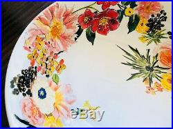 Pottery Barn Floral Bunny Plates Footed Serving Bowl Easter Dinner 9 Piece Set