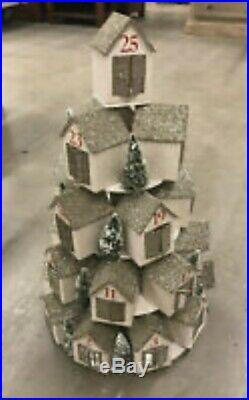 Pottery Barn GLITTER Light-Up Stacking House ADVENT CALENDAR Christmas Holiday