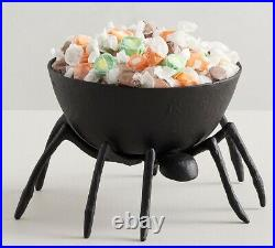 Pottery Barn Halloween Black Metal Spider Tarantula Candy Bowl Trick or Treat