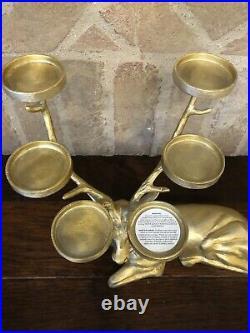 Pottery Barn Reindeer Votive Candle Holder Decor Christmas Deer Gold Sitting New