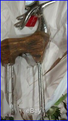 Pottery Barn Wood and Hammered Metal Reindeer Large Christmas New with tag