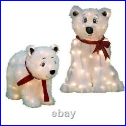 PreLit Seasonal 2 ft and 1.5 ft LED Polar Bears Set