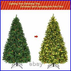 Pre-Lit 7' Premium Spruce Artificial Christmas Tree Hinged 460 LED Lights Pine