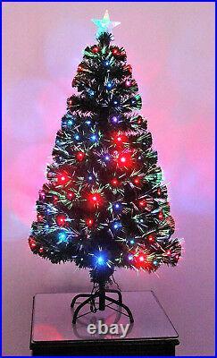 Pre Lit Green Fibre Optic LED Christmas Tree Xmas 2ft 3ft 4ft 5ft 6ft 7ft 8ft