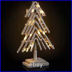 Pre-Lit Snowy Wooden Christmas Tree Add A Unique Decoration To Your Home 40cm