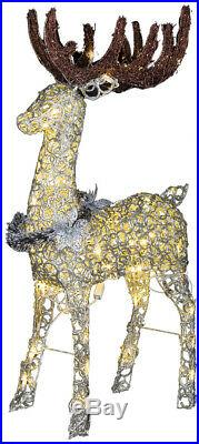 Prelit Led Lighted Sparkling Buck Reindeer Outdoor Christmas Yard Decoration 48