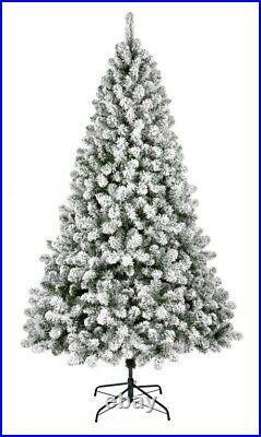 Premier Woodcote Pine White & Green Xmas Snow Flocked Christmas Tree 8FT 240 CM