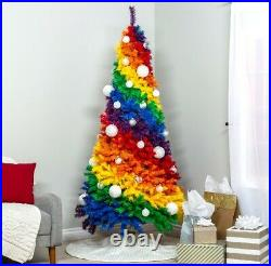 Prideful Gay Happy 7ft Artificial Colorful Rainbow Full Fir Christmas Tree