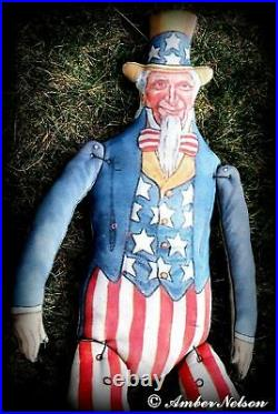 Primitive Antique American flag Uncle Sam door hanger porch sitter 4th of July