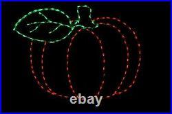 Pumpkin Single Leaf LED light display metal wireframe outdoor yard decoration