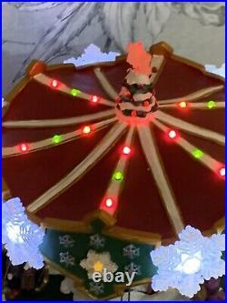 RARE Hawthorne village Christmas Swing Carousel Ride Animated Musical Kinkade