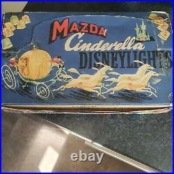 RARE VINTAGE Mazda CINDERELLA Disney Christmas Lights (1940's/1950's)