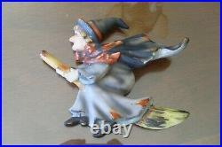 RARE Vintage LEFTON Halloween Decor, WITCH Riding Broom Wall Plaque #1258