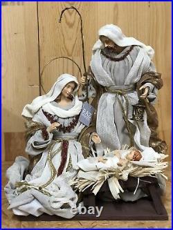 RAZ Imports 15.25 Holy Family Winter White Cream Bronze Nativity Christmas NEW