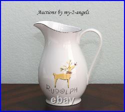 RETIRED Pottery Barn Christmas SANTA'S REINDEER Rudolph Pitcher Serveware NEW