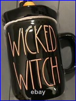 Rae Dunn Halloween Black Wicked Witch Mug With Legs Topper Lid Brand New 2020
