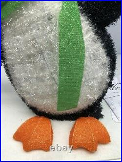 Rare Alcove 60 Lighted Tinsel Happy Holidays Christmas Penguins Lawn Ornament