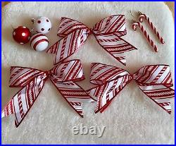 Red and White Candy Cane Striped Ribbon Christmas Tree 3x Bows Decorations 23 cm