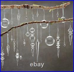 Restoration Hardware Handblown Glass Clear Ornaments 2 Swirl Finial 12 Xmas
