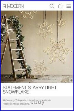 Restoration Hardware Starry Light Snowflake LED Christmas Holiday 18 Silver