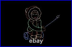 Roasting Marshmallow Girl LED light display metal wireframe outdoor decoration