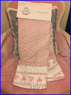 SIMPLY SHABBY CHIC QUILTED PINK VELVET FLORAL TREE SKIRT withRUFFLE RACHEL ASHWELL