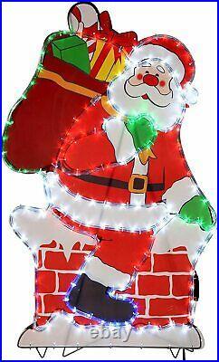 Santa Chimney LED Silhouette Rope Light Up Garden Outdoor Christmas Decoration