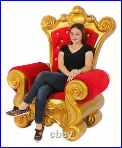 Santa Throne Chair Christmas Decor Red Velvet & Gold Frame Santa Chair