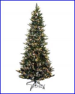 Santa's Best 7.5' Slim Snowbound Spruce with EZ Power H200848