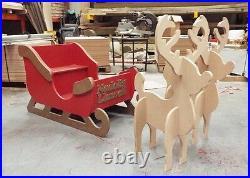 Santa's Sleigh & Reindeer MDF Large Unpainted Wooden To Sit In 1150mm Long Santa